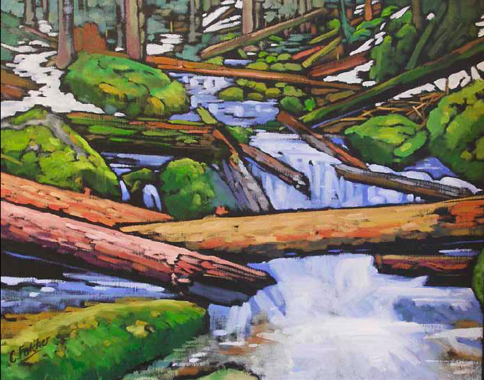 """""""A Spring Crossing"""" 24 x 30 Oil on canvas $3,000"""