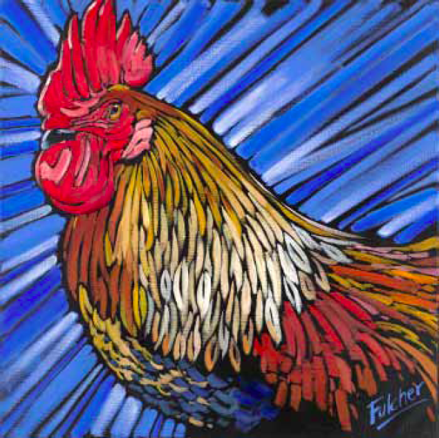 """""""Cock of the Walk"""" 24 x 24 Oil on canvas $2,736"""