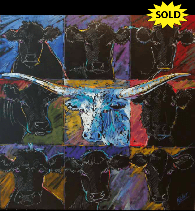 """""""Ghosts of Cowcubines Past"""" 48 x 48 Oil on canvas"""